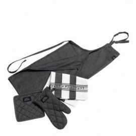 Pillivuyt Tekstilsæt 6 dele grå/sort/hvid