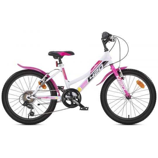 """Pigecykel 20"""" DINO hvid/pink 6-gear"""