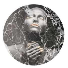 BLACK MARBLE LADY CIRCLE ART
