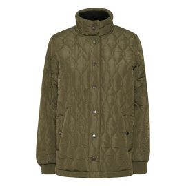 KAFFE MANTEAU KASALLE SHORT QUILTED COAT W. STAND GRAPE LEAF