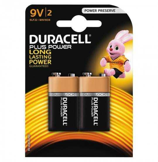Duracell Plus Power 9V Alkaline Batterier, 2pk