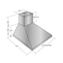 Ecotronic emhætte stål EPH601S