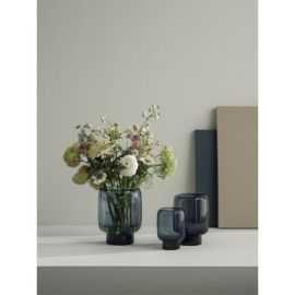 Hoop Vase, Ø16cm, glas, midnight blue