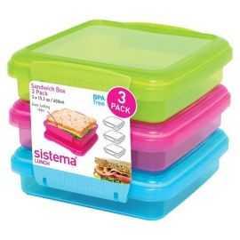 Sandwichbox 450ml 3-pak farvet
