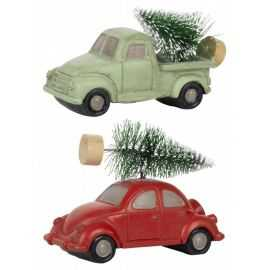 Bil m/træ på tag, 2 ass. farver stående