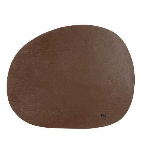 RAW - Recycled brun læderdækkeserviet 41 x 33,5 cm