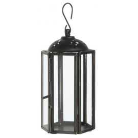 Lanterne mini sekskantet rund H14 cm