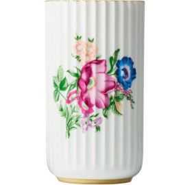 Lyngby Vase hvid m/blomster H15,5