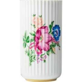 Lyngby Vase hvid m/blomster H20,5
