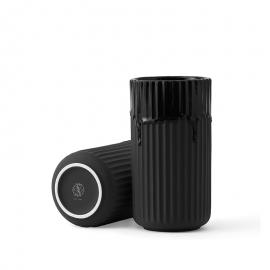 Lyngby Vase m/løbeglasur H20 sort