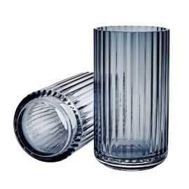 Lyngby Vase H15,5 mid. blue glas