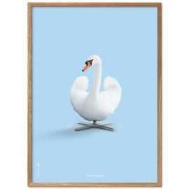 Plakat hvid svane på blå baggrund 30 x 40 cm