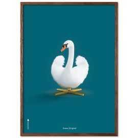 Plakat Hvid svane på blå baggrund 50 x 70 cm