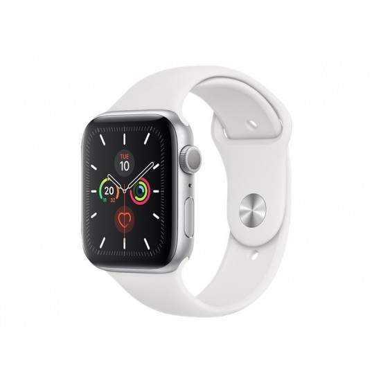 Apple Watch 5 44mm silver/white sport