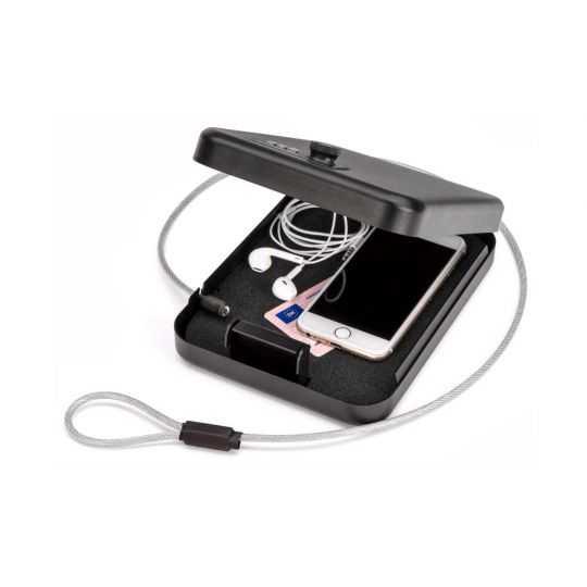 Værdiboks med kodelås og wire til bilen