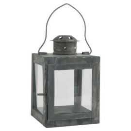 Lanterne t/fyrfadslys 15x9,5 cm grå/zink