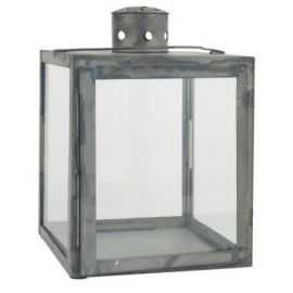 Lanterne firkantet 29x20 cm grå/zink