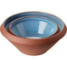 Højtbrændte terracotta dejfade 5+2 L støvet blå