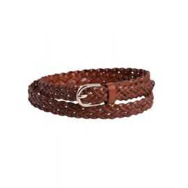 PIECES AVERY LEATHER BRAIDED SLIM BELT
